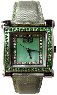 Effy Park Avenue Diamond & Tsavorite Mother-of-Pearl Dial Ladies Watch