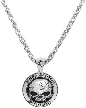 Harley-Davidson .925 Silver Cracked Skull Mens Necklace