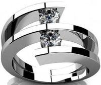 0.60 ct Two Round Cut Diamonds Anniversary Ring in Platinum