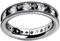 1.00 ct Millgrain Edge Diamond Eternity Wedding Band Ring in Platinum