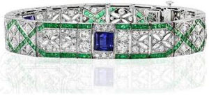 Art Deco Platinum and Diamond Bracelet With 3 Central Sapphires and Calibre Emeralds