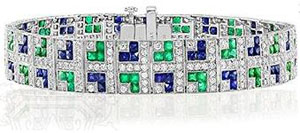 Art Deco Style Platinum French Cut Sapphire and Emerald and Diamond Bracelet