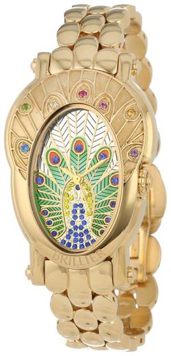 Brillier Womens 18-01 Royal Plume Peacock Inspired Swiss Genuine Gemstones Watch