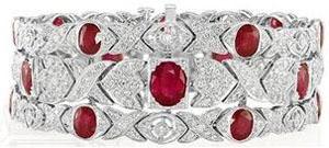 Edwardian Style Platinum Jewelry, Oval Ruby and Diamond Wide Bracelet