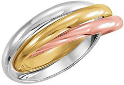 Jewelplus 18kt Yellow, 18kt Rose & Platinum Tri-Color 2.5mm 3-Band Rolling Ring