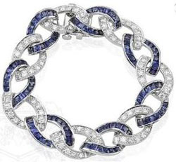 Platinum, French Cut Sapphire and Round Diamond Curb Link Bracelet