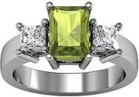 Platinum Peridot and Diamond Ring