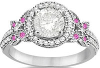 Unique Colored Gem Diamond and Pink Sapphire Butterfly Engagement Ring Fancy Platinum