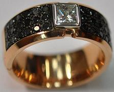 14kt White & Pink Gold Black & White Diamond Mens Ring