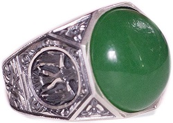 Unique Sterling Silver Men Double Headed Eagle Ring, Jade Natural Gemstone