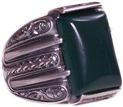 Sterling Silver Unisex Ring, Jade Natural Gemstone, Steel Pen Craft Handmade