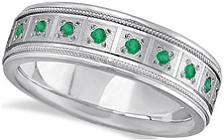 Green Emerald Wedding Band for Men Pave Eternity Ring 14k White Gold