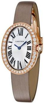 Cartier Baignoire Diamond Silver Dial 18k Rose Gold Ladies Watch