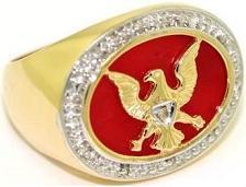 Mens Ring Sard Onyx & Diamond 14K Yellow or White