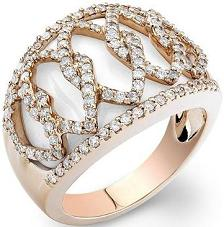 Rose Gold White Onyx Diamond Ring