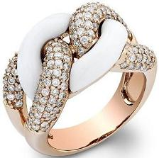 White Onyx Diamond Ring in Rose Gold
