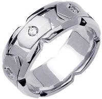 0.40ct TDW White Diamonds Platinum Blocks Men's Wedding Band
