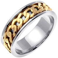 Infinity Knot Celtic Men's 7 mm 18K Gold and Platinum Comfort Fit Wedding Band