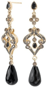 Tivolia Collection 14K Yellow Gold Black Onyx Briolette and Cognac Diamond Dangle Earrings