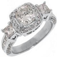 18k White Gold 2.54 Carats Cushion Cut Past Present Future 3 Stone Diamond Ring