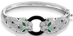 Genuine Black Onyx, Emerald and Diamond Panther Bracelet in 14K White Gold 2.16tcw