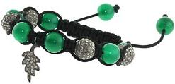 Natural Green Onyx Gemstone Beaded Macrame Bracelet Silver Fashion Jewelry