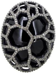 925 Sterling Silver 39.90 Ct Onyx Carving Diamond Pave Fashion Cocktail Proposal Ring Handmade Jewelry