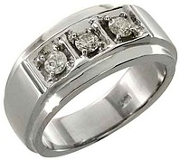 14k White Gold Mens Brilliant Round 3-Stone Diamond Pinky Ring 1 Carat