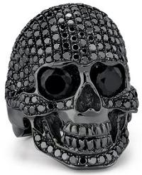 Custom Made Solid Skull with Paved Black Onyx Around the Skull in Sterling Silver