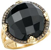 Tivolia Collection 14K Yellow Gold Domed Black Onyx and Cognac Diamond Ring