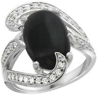 14k White Gold Natural Black Onyx Ring Oval With Diamond Accent