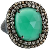 Azaara Green Onyx Surrounded by Pave Champagne Rose Cut Diamond Ring
