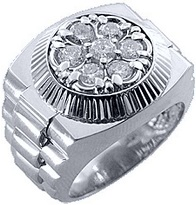 Mens Rolex Ring White Gold Round Diamond 1.50 Carats