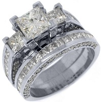 14k White Gold 3.5 Carats Princess 3-Stone Diamond Engagement Ring Bridal Set