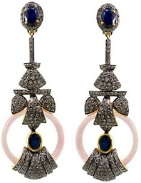 14k Gold 925 Sterling Silver 3.65Ct Diamond Pave Sapphire & Onyx Dangle Earrings Handmade Vintage Jewelry