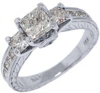 18k White Gold 2.29 Carats Princess Cut Past Present Future 3 Stone Diamond Ring