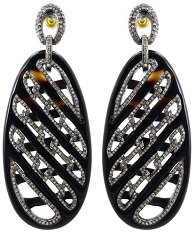 14k Gold 925 Sterling Silver 65.49 Ct Onyx Carving Diamond Pave Fashion Dangle Earrings