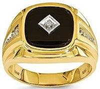 14k Yellow Gold Onyx & Diamond Men's Ring