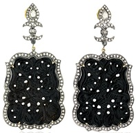 18kt Gold Diamond Pave Black Onyx Carved Dangle Earrings Silver Handmade Jewelry