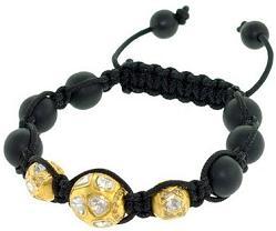 18kt Gold Rose Cut Diamond Onyx Beads Macrame Cord Bracelet Silver