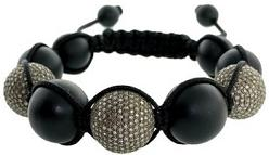 Black Onyx Gemstone Beaded Macrame Bracelet Fashion Jewelry
