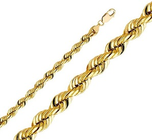 14k Yellow Gold 8mm Solid Rope Diamond Cut Chain Necklace