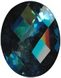 57.65 Carats AAA Oval Checker Board London Blue Topaz Loose Gemstone