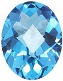 Oval Checkered Loose Swiss Blue Topaz Gemstone