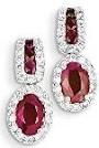 14K White Gold Diamond & Ruby Earrings