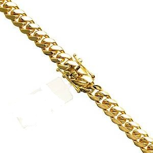 14K Yellow Gold Miami Cuban Solid Chain Mens Gold Necklaces