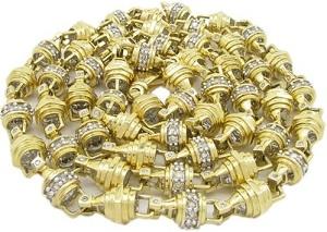 Mens 14k Yellow Gold 6.81ctw Prong Bezel Diamond Chain