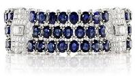 39.013ct Natural Oval Blue Sapphires Set in Platinum Bracelet With 9.02cts of Diamonds