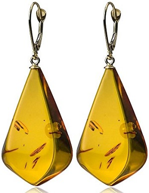 14K Gold Amber Drop Earrings