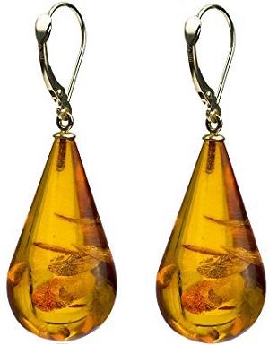 14k Gold Amber Drop Leverback Earrings